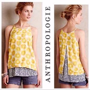 PORRIDGE ANTHROPOLOGIE Yellow Lemon Swing Tank Top